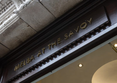 Built up brass lettering for the Melba at the Savoy London