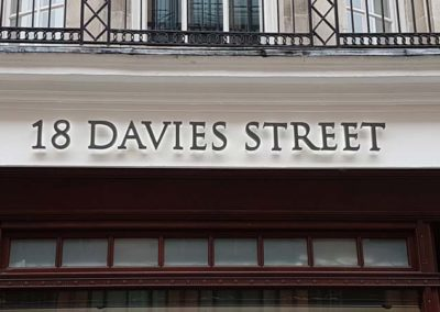 Built Up Lettering Sign for 18 Davies Street