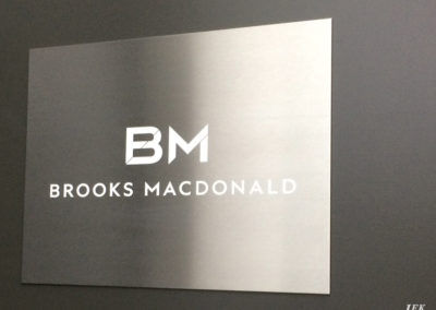 Stainless Steel Plaque for Brooks Macdonald