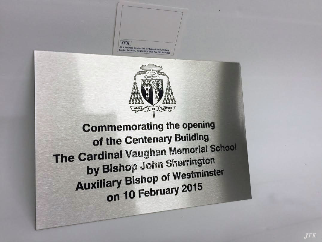 Stainless Steel Plaque For Cardinal Vaughan Memorial