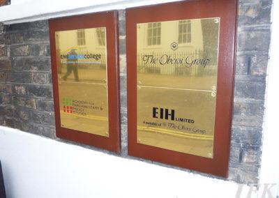 Brass Plaque for Civil Service College