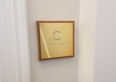 Brass Plaque for Cubitt Capital
