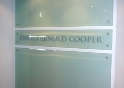 Glass Plaque for Davis Arnold Cooper