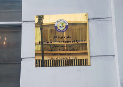 Brass Plaque for Embassy Of Qatar