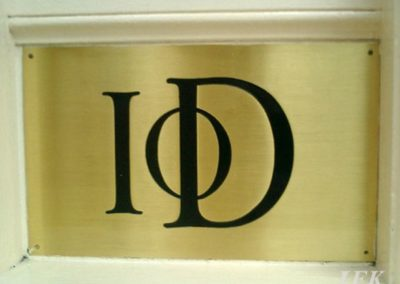 Brass Plaque for Iod Pall Mall