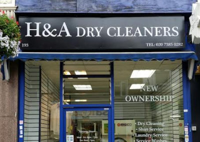 Fascia Signs for H & A Dry Cleaners