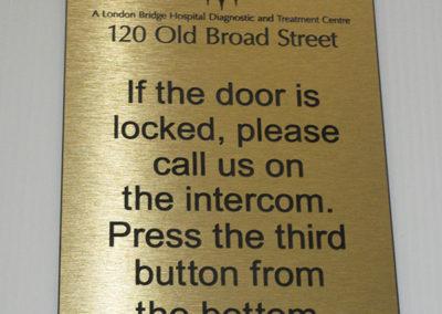 Brass Plaque for London Bridge Hospital