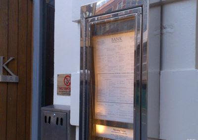 Menu Display Case for Bank Restaurant & Bar