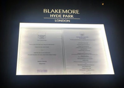 Menu Display Case for Blakemore Hyde Park Hotel