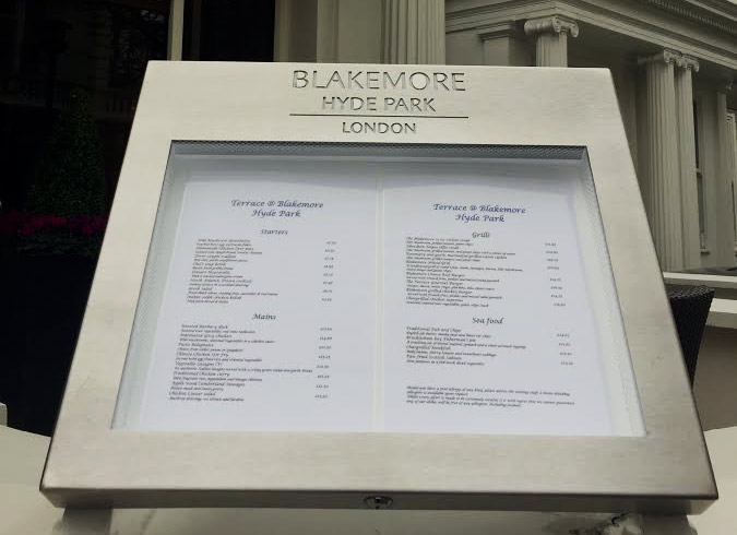 Menu Display Case for Blakemore Hyde Park Hotel