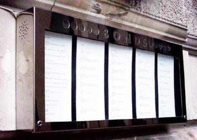 Menu Display Case for Bonds Bar & Restaurant