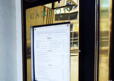 Menu Display Case for Caxton Grill Restaurant
