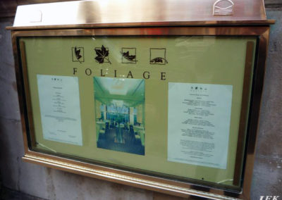 Menu Display Case for Foliage Restaurant
