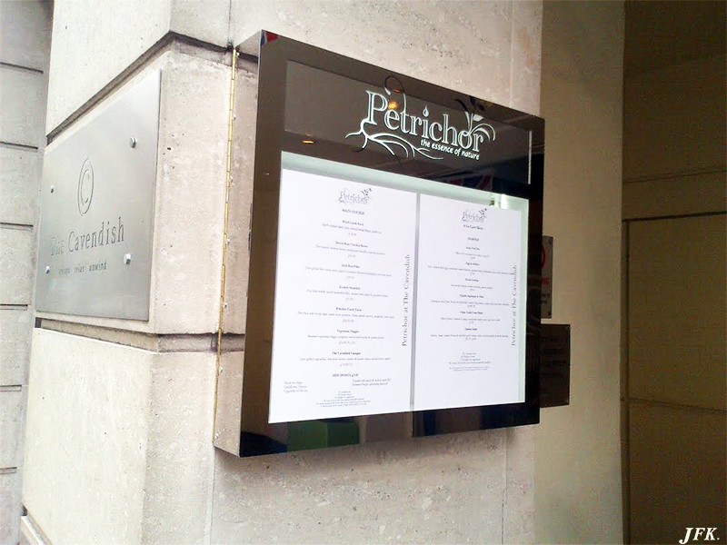Menu Display Case for Petrichor Restaurant