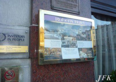 Menu Display Case for Rubens Hotel