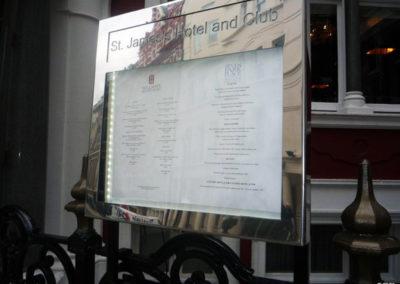 Menu Display Case for St. James Hotel