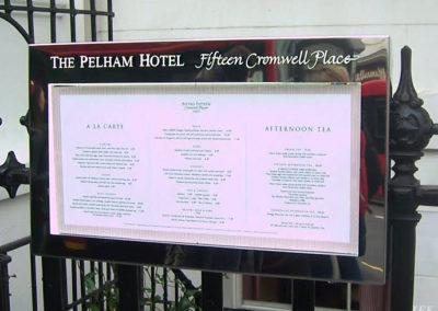 Menu Display Case for The Pelham Hotel
