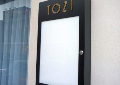 Menu Display Case for Tozi Restaurant