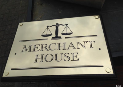 Brass Plaque for Merchant House
