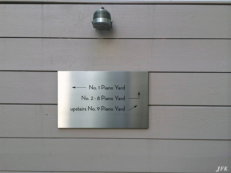 Stainless Steel Plaque for Piano Yard