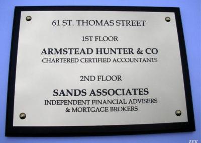 Aluminium Plaque for Armstead Hunter & Co