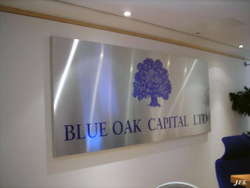 Aluminium Plaque for Blue Oak Capital Ltd