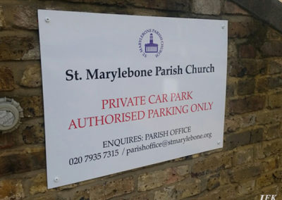 Aluminium Plaque for Marylebone Parish Church