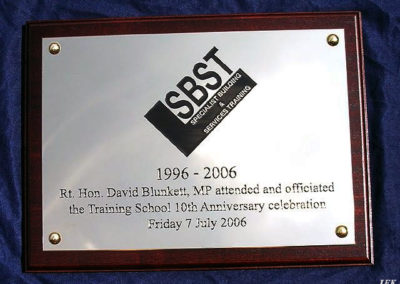 Aluminium Plaque for Sbst