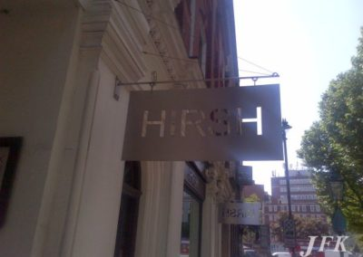 Projecting Stencil Cut Sign for Hirsh