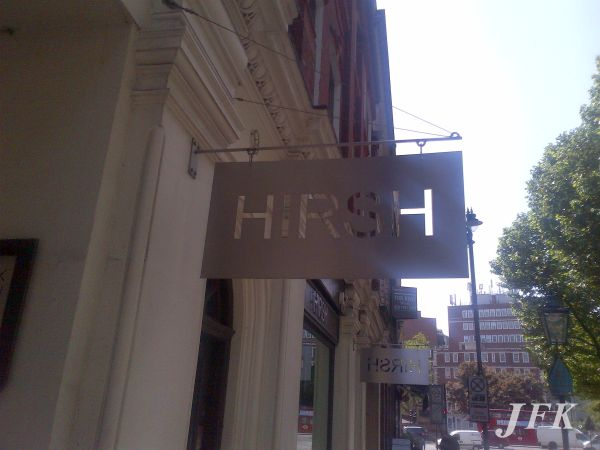 5a70450600 ... Dahlia Fashion Boutique in London Projecting Stencil Cut Sign for Hirsh