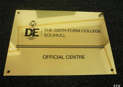 Brass Plaque for Sixth Form College