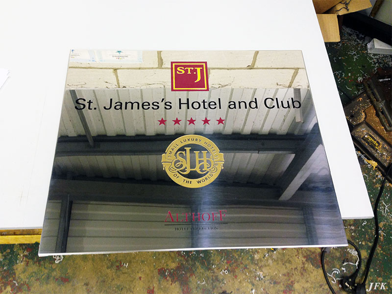 Stainless Steel Plaque for St James Hotel