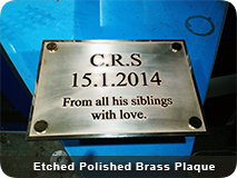 Etched Polished Brass Plaque
