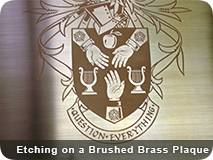 Etching Brushed Brass Plaque