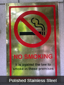 No Smoking Polished Stainless Steel