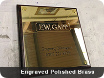 Polished Brass Engraved Plaques