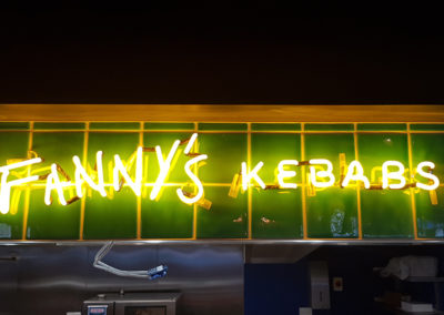 Bespoke Neon Signs for Victoria Halls Market London - Fannys Kebab