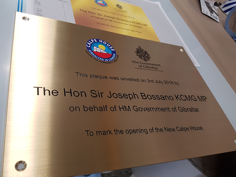 Brass Wall Plaque Embossed for Calpe House