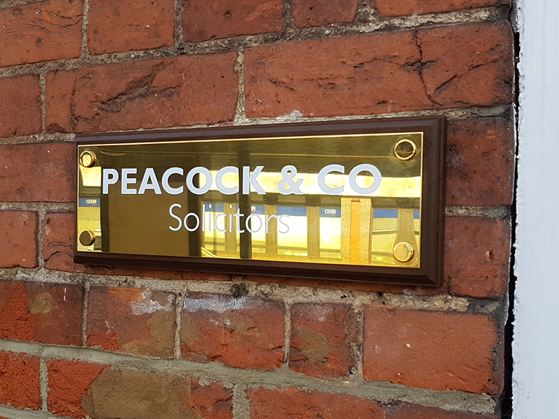 Polished Brass Wall Plaque on Dark Wood