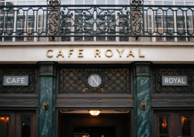Art-deco inspired signage for The Hotel Café Royal