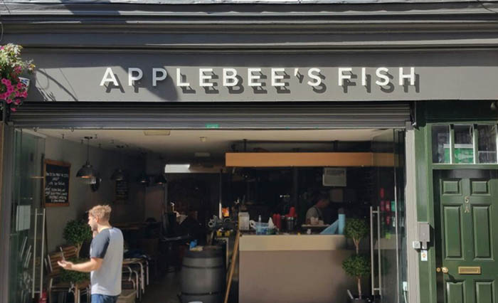 Elevated fascia signage for Applebee's Fish Restaurant
