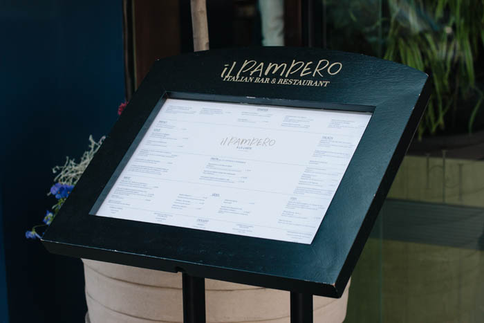 Fascia and menu signage for Il Pampero