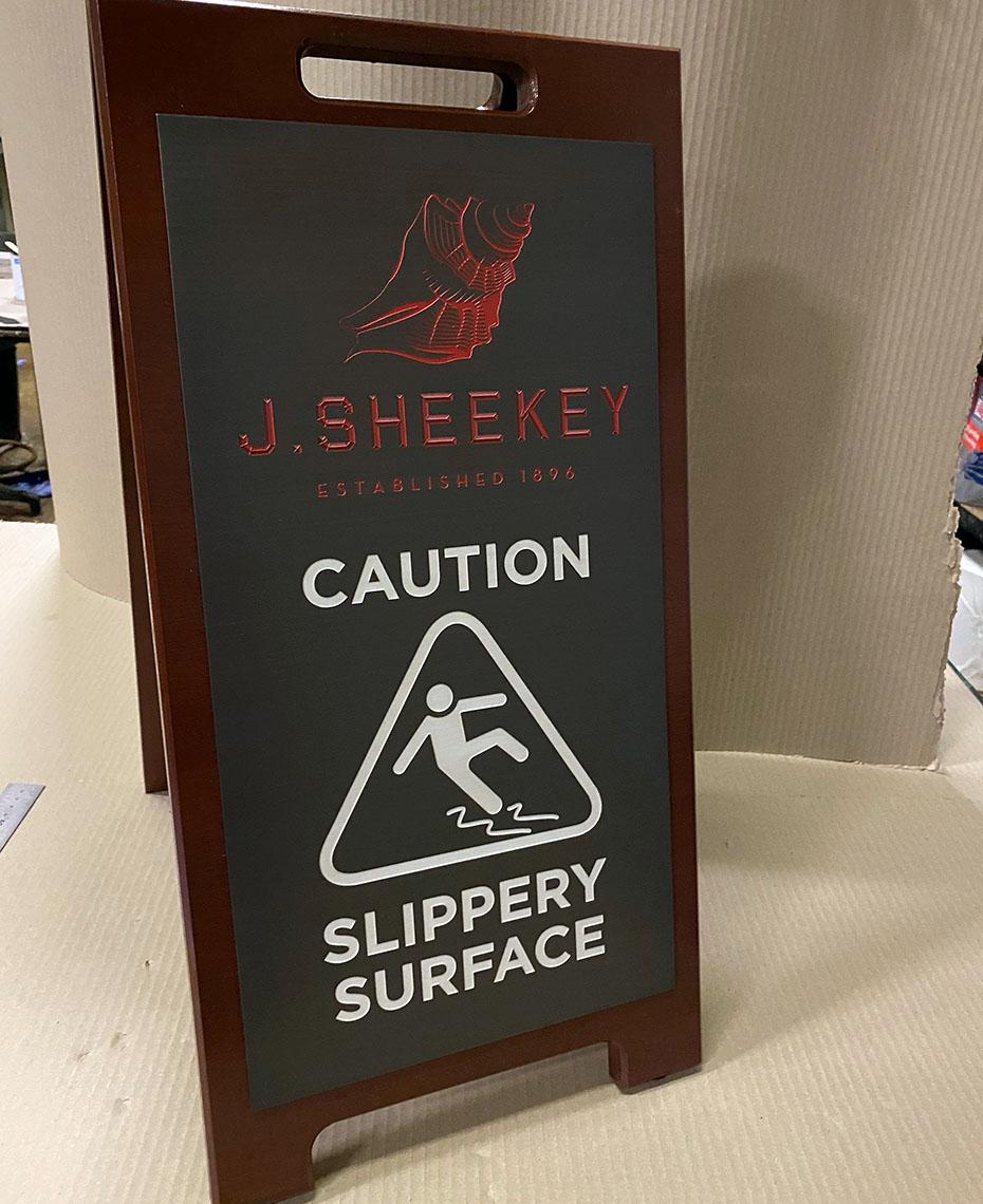 Bespoke Wooden Wet Floor Sign for J Sheekey
